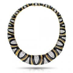 David Webb David Webb 18K Gold Black Enamel Diamond Bib Choker Necklace - 1684093