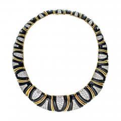 David Webb David Webb 18K Gold Black Enamel Diamond Bib Choker Necklace - 1685039