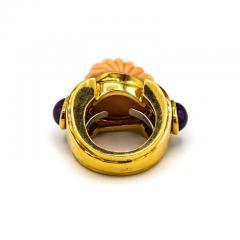 David Webb David Webb 18K Gold Coral Amethyst Green Emerald Ring - 1664962
