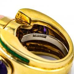 David Webb David Webb 18K Gold Coral Amethyst Green Emerald Ring - 1664964