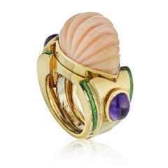 David Webb David Webb 18K Gold Coral Amethyst Green Emerald Ring - 1664965