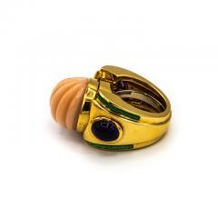 David Webb David Webb 18K Gold Coral Amethyst Green Emerald Ring - 1664966