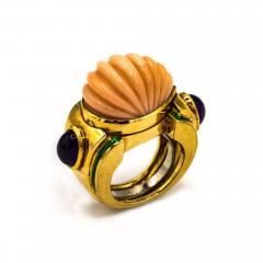 David Webb David Webb 18K Gold Coral Amethyst Green Emerald Ring - 1666051