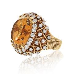 David Webb David Webb 18K Gold Diamond Citrine Ring - 1664760