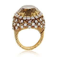 David Webb David Webb 18K Gold Diamond Citrine Ring - 1664761