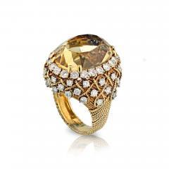 David Webb David Webb 18K Gold Diamond Citrine Ring - 1666026