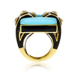 David Webb David Webb 18K Gold Domino Turquoise Black Enamel Ring - 1664831