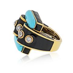 David Webb David Webb 18K Gold Domino Turquoise Black Enamel Ring - 1664832