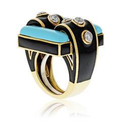David Webb David Webb 18K Gold Domino Turquoise Black Enamel Ring - 1664834