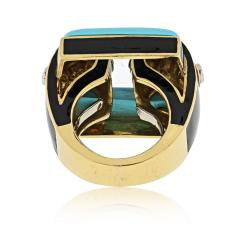 David Webb David Webb 18K Gold Domino Turquoise Black Enamel Ring - 1664835