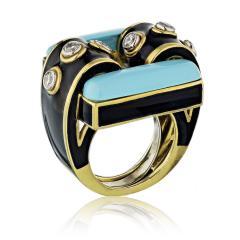 David Webb David Webb 18K Gold Domino Turquoise Black Enamel Ring - 1664836