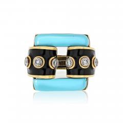 David Webb David Webb 18K Gold Domino Turquoise Black Enamel Ring - 1666042