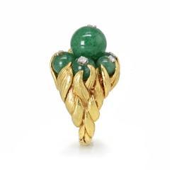 David Webb David Webb 18K Gold Green Chrysoprase and Diamond Ring - 1664825