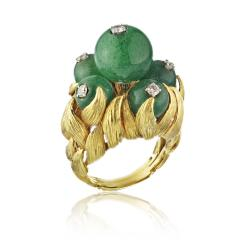 David Webb David Webb 18K Gold Green Chrysoprase and Diamond Ring - 1664826