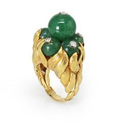 David Webb David Webb 18K Gold Green Chrysoprase and Diamond Ring - 1664827