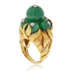 David Webb David Webb 18K Gold Green Chrysoprase and Diamond Ring - 1664829