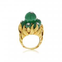David Webb David Webb 18K Gold Green Chrysoprase and Diamond Ring - 1666041