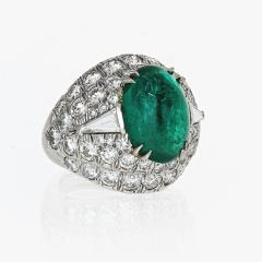 David Webb David Webb 18K Gold Green Emerald And Diamond Bombe Ring - 1665113
