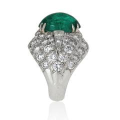 David Webb David Webb 18K Gold Green Emerald And Diamond Bombe Ring - 1665114
