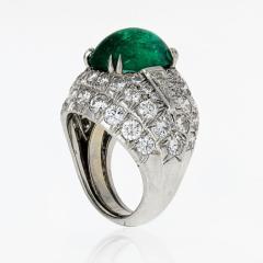 David Webb David Webb 18K Gold Green Emerald And Diamond Bombe Ring - 1665115