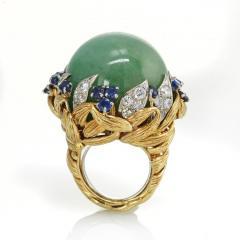David Webb David Webb 18K Gold Jade Cabochon with Sapphires and Diamonds Ring - 1664809