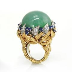 David Webb David Webb 18K Gold Jade Cabochon with Sapphires and Diamonds Ring - 1664812