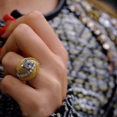 David Webb David Webb 18K Gold Turban Motif Old Cut Diamond Ring - 1664807