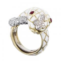 David Webb David Webb 18K Gold White Enamel Serpent Ring - 1664822