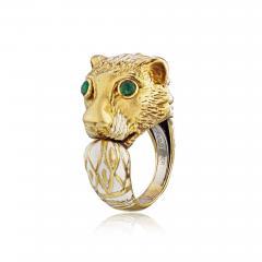 David Webb David Webb 18K Gold with a White Enamel Lion Head Vintage Ring - 1666034