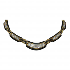 David Webb David Webb Black Enamel Diamonds Gold Necklace - 45112