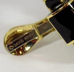 David Webb David Webb Black Enamel Gold Earrings - 80555