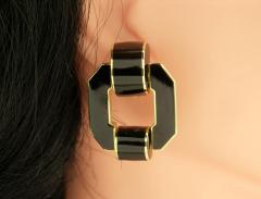 David Webb David Webb Black Enamel Gold Earrings - 80556