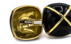 David Webb David Webb Black Enamel Large Square Cushion Shape Clip On Earrings - 1668305