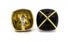 David Webb David Webb Black Enamel Large Square Cushion Shape Clip On Earrings - 1668306