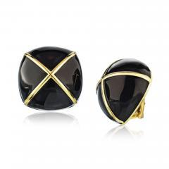 David Webb David Webb Black Enamel Large Square Cushion Shape Clip On Earrings - 1670660