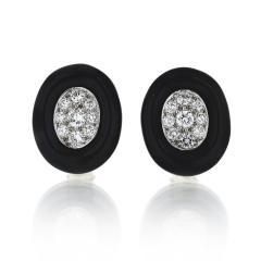 David Webb David Webb Black Enamel and Diamond Clip Earrings - 1671988