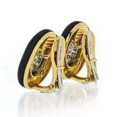 David Webb David Webb Black Enamel and Diamond Clip Earrings - 1671990
