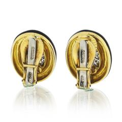 David Webb David Webb Black Enamel and Diamond Clip Earrings - 1671991
