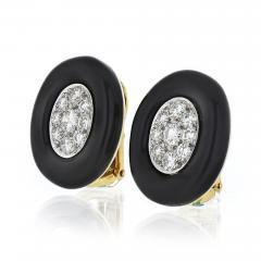 David Webb David Webb Black Enamel and Diamond Clip Earrings - 1673433