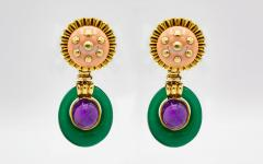 David Webb David Webb Coral Amethyst Chalcedony Drop Clip On Earrings - 1668168