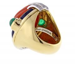 David Webb David Webb Coral Diamond and Emerald Ring - 1004698