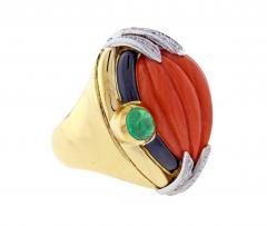 David Webb David Webb Coral Diamond and Emerald Ring - 1004699