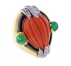 David Webb David Webb Coral Diamond and Emerald Ring - 1004700