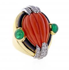 David Webb David Webb Coral Diamond and Emerald Ring - 1004701