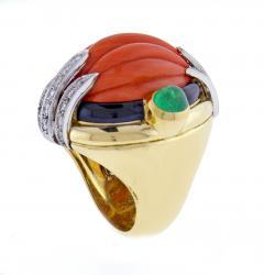 David Webb David Webb Coral Diamond and Emerald Ring - 1004702