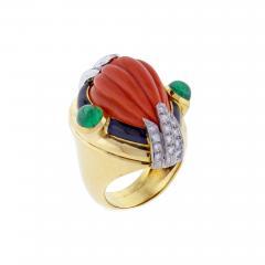 David Webb David Webb Coral Diamond and Emerald Ring - 1005449