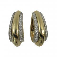 David Webb David Webb Diamond Gold Hoop Earrings - 78634