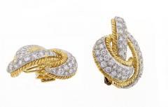 David Webb David Webb Diamond and Gold Knot Earrings - 457871