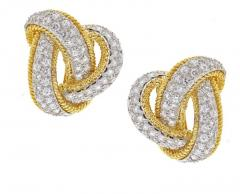 David Webb David Webb Diamond and Gold Knot Earrings - 457873