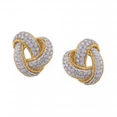 David Webb David Webb Diamond and Gold Knot Earrings - 496137